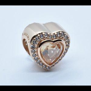 Authentic Pandora rose gold sparkling love heart